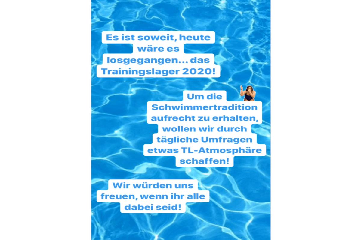 Schwimmen Trainingslager auf Instagramm